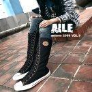Women shoes Black Canvas boot lace up sneakers knee high