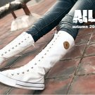 Women shoes  white canvas boots lace up sneakers knee high