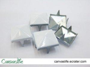 100Pcs 9mm White Pyramid Rivet STUDS