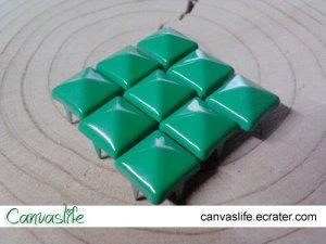 100Pcs 9mm Green Pyramid Rivet STUDS