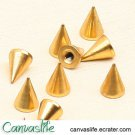 10pcs 7mm Golden Color Spikes Stud