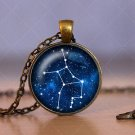 Astrology Photo Cabochon Glass Vintage Bronze Chain Pendant Necklace Cheap lovely cute Necklace