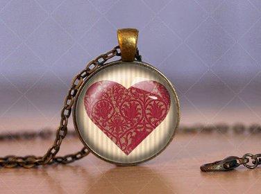Love Heart Cabochon Glass Vintage Bronze Chain Pendant Necklace