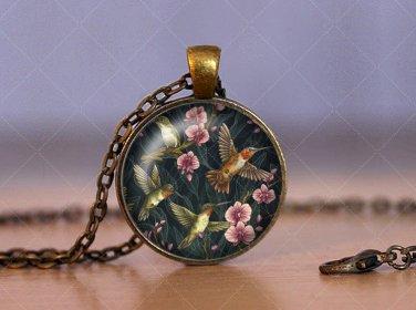 Photo Cabochon Cabochon Glass Vintage Bronze Chain Pendant Necklace