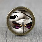 Butterfly Glass Cabochon Bronze cabinet Dresser Knobs pull / Dresser Pull