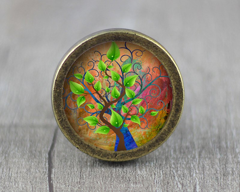 Life of Tree Glass Cabochon Bronze cabinet Dresser Knobs pull / Dresser Pull