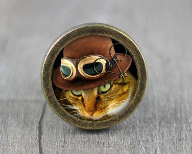 Steampunk Cat Glass Cabochon Bronze cabinet Dresser Knobs pull / Dresser Pull