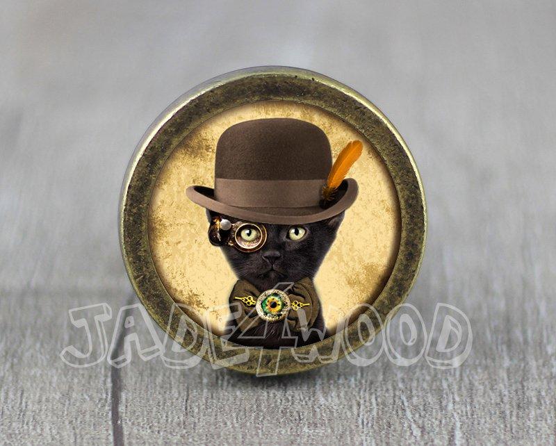 Cat Glass Cabochon Bronze cabinet Dresser Knobs pull / Dresser Pull