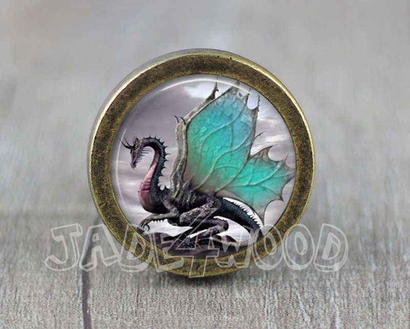 Dragon Glass Cabochon Bronze cabinet Dresser Knobs pull / Dresser Pull