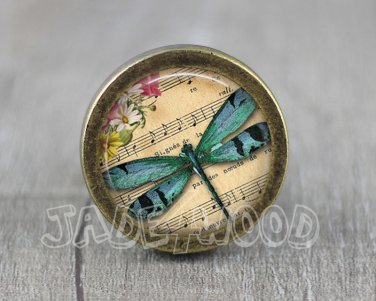 Dragonfly Glass Cabochon Bronze cabinet Dresser Knobs pull / Dresser Pull