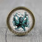 Octopus Glass Cabochon Bronze cabinet Dresser Knobs pull / Dresser Pull