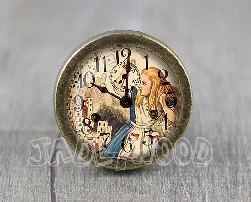 Alice in Wonderland Glass Cabochon Bronze cabinet Dresser Knobs pull / Dresser Pull