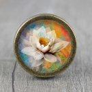 Lotus Flower Glass Cabochon Bronze cabinet Dresser Knobs pull / Dresser Pull