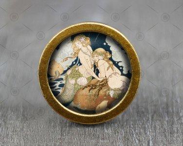 Mermaid Glass Cabochon Bronze cabinet Dresser Knobs pull / Dresser Pull