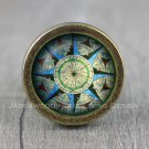 Compass Glass Cabochon Bronze cabinet Dresser Knobs pull / Dresser Pull