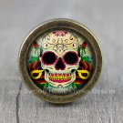 Gothic Skull Glass Cabochon Bronze cabinet Dresser Knobs pull / Dresser Pull