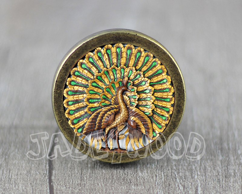Peacock Glass Cabochon Bronze cabinet Dresser Knobs pull / Dresser Pull