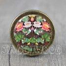 Flower Cabochon Bronze cabinet Dresser Knobs pull / Dresser Pull