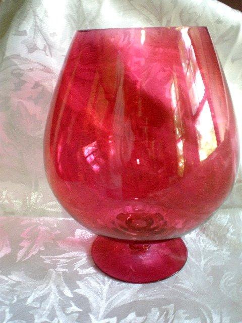 large cranberry glass brandy snifter