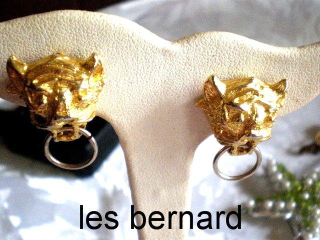 LES BERNARD  LION HEAD ,DOOR KNOCKER EARRINGS