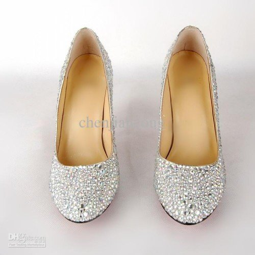 2011 Newest Crystals Wedding Shoes Women Silver High Heels Diamond
