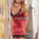 Wholesale - Sexy lingerie Deep Red Satin Chemise nightwear CH0044 drop shipping