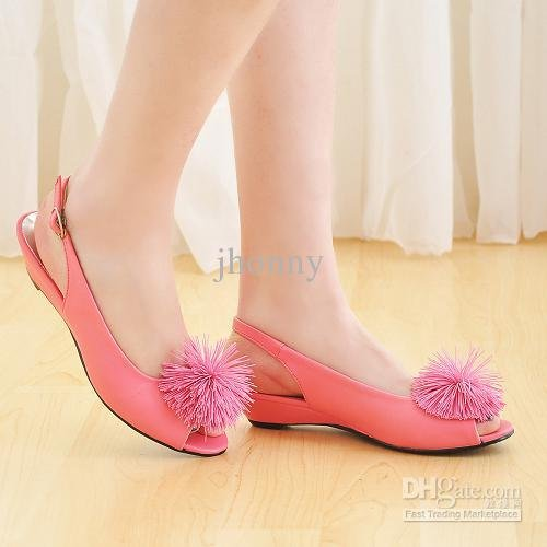 2011 new Spring/PU/after the hasp/fish elastic flowers/sandals/shoes/pink white black powder