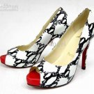 new arrival women's Black and White Snake Skin Shoes sandles