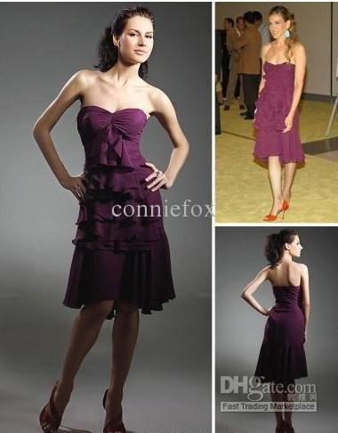 Sarah Jessica Parker A-line Sweetheart Asymetrical Sleeveless Chiffon Ruffles Cocktail Dress