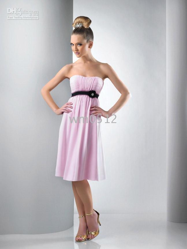 Knee Length Sheath Sleeveless StraplessSash with Beaded Chiffon Evening Dress