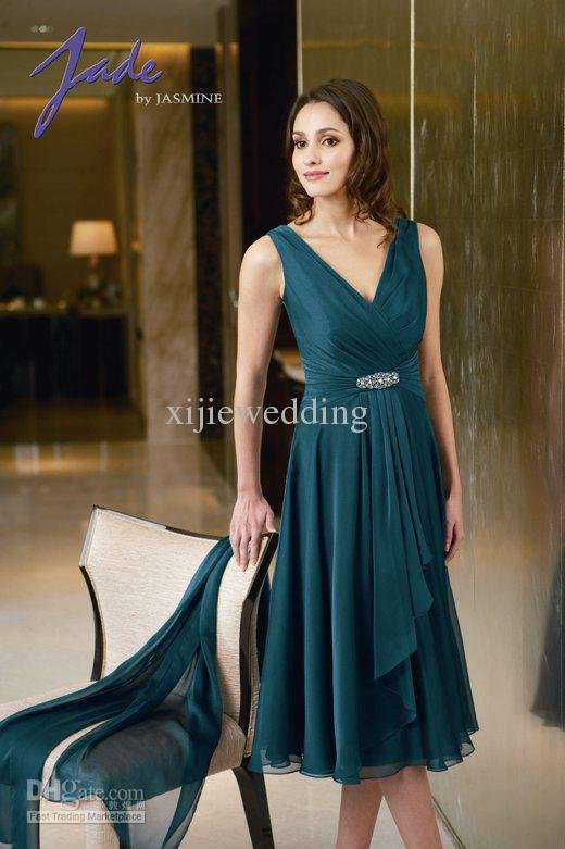 with Real Pictures Top Sale Short Chiffon V-neck Formal Dress/Evening Dresses