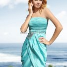 Polybag,Off-Shoulder Strapless Chiffon Sequin Ruched Elegant Short Evening prom Dress(Blue)