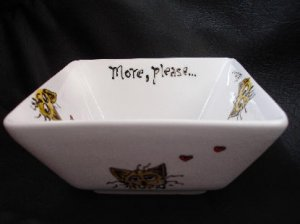 Hand painted personalized cat feeding bowl