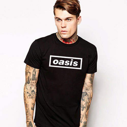 Buy Britain Music Band Oasis Letter Print T shirt Mens T Shirt Tee Top Teenage Black Guitar Pop Loo