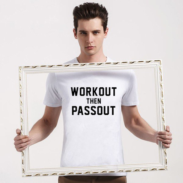 Buy Joking Workout Then Passout Lettering Printed T Shirt Men Clothing T shirt Man Tee Black Color