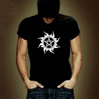 Buy 100 Cotton Black US TV Show Supernatural T Shirt Men Logo Print Short Sleeve T shirt Street Pun