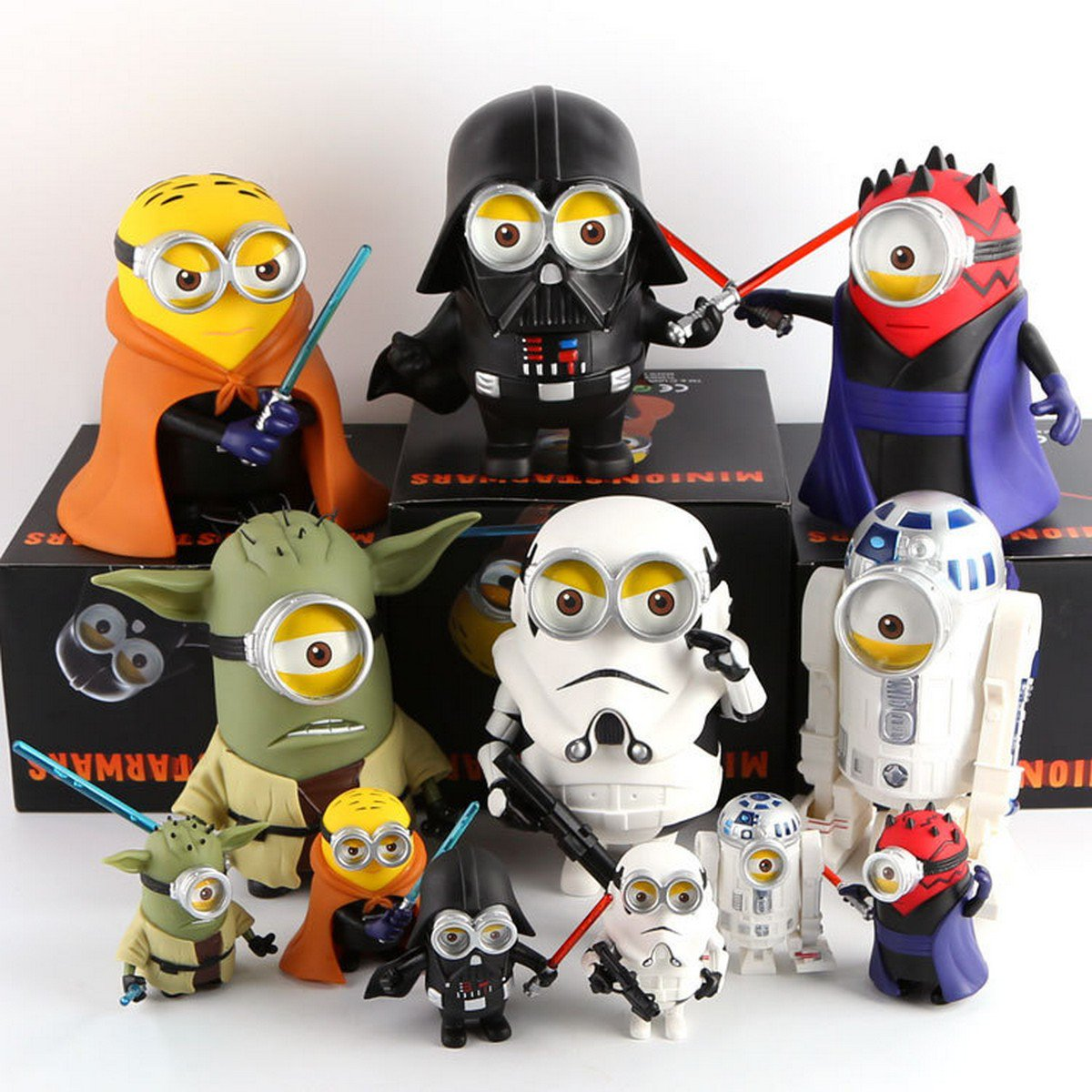 Buy 20cm Big Size! Minions Cosplay Star Wars Darth Vader Darth Maul Luke Yoda PVC Soft Material Dec