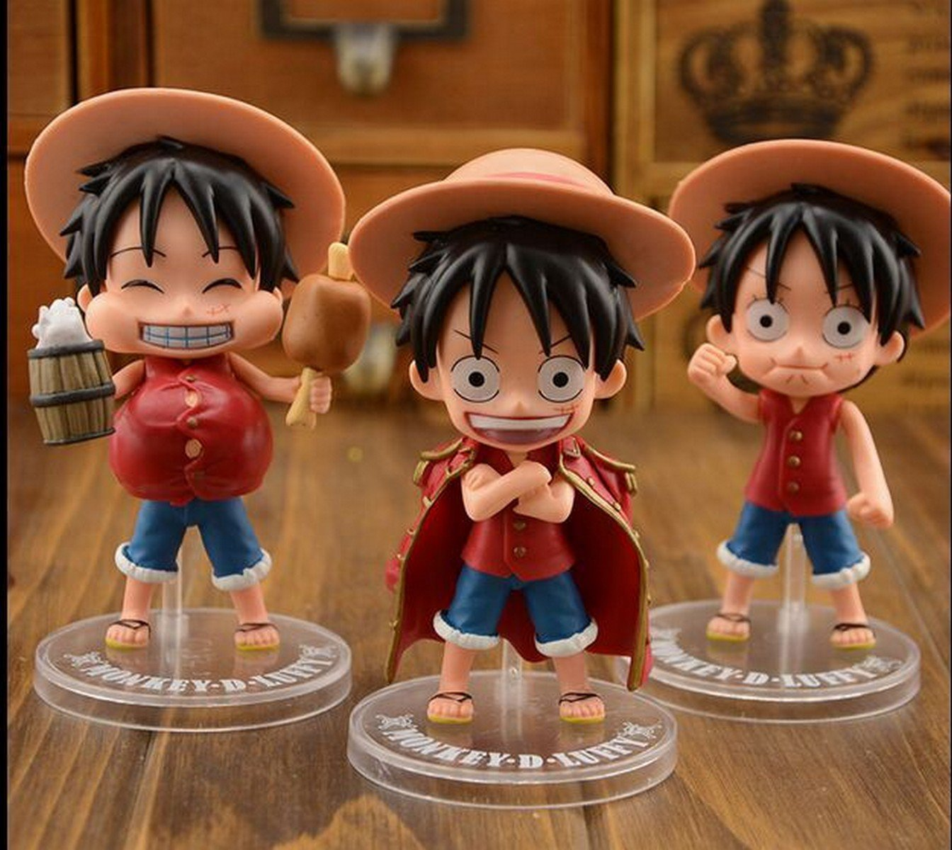 Buy 3Pcslot One Piece Anime Cute Figure doll Ornaments Pirate Era of King Luffy Empty Island Papers