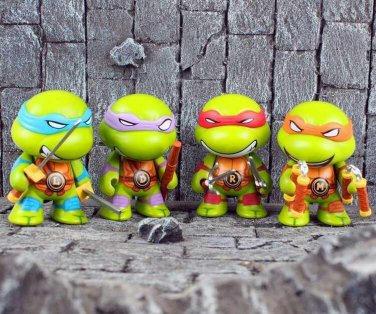 Buy 4pcsset Q version Teenage Mutant Ninja Turtles Anime TMNT action figures Toys Brinquedos Michel