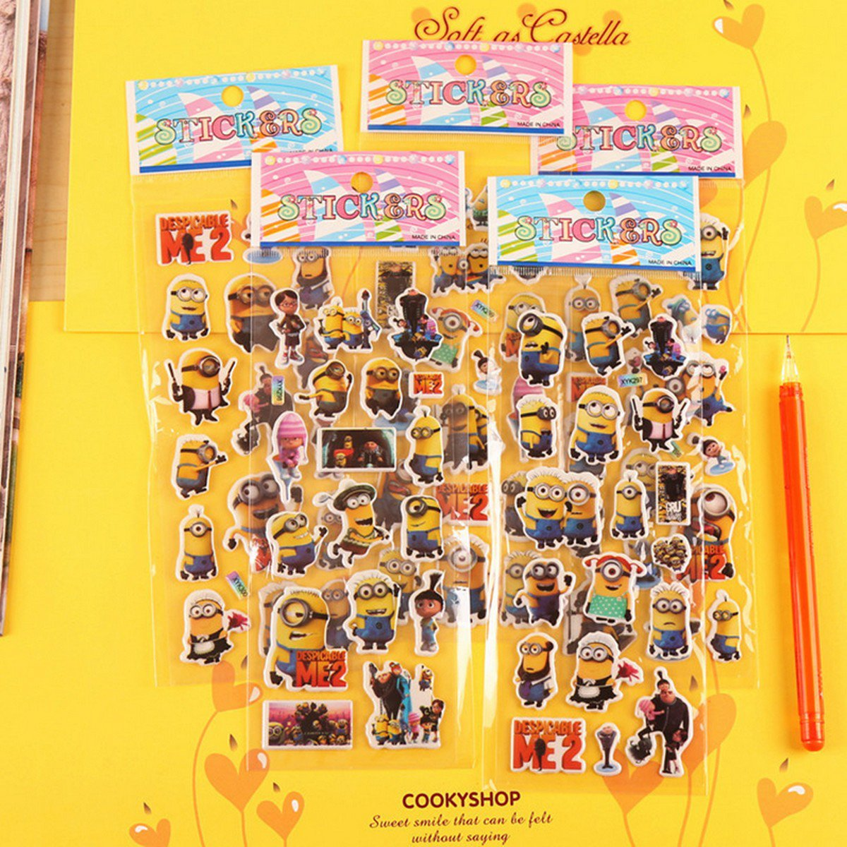 Buy 10pcslot Cute Despicable Me Minions Stickers Korea 3D Dimensional Anime Bubble Stickers For Kid