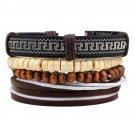 Buy 1Set Multilayer Leather Bracelet Men Jewelry Bohemian Rock Wooden Bead Bracelets For Women Love