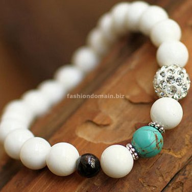 Buy  New Fashion Tibetan White Tridacna Men and Women Buddha Bracelet 8mm Shambhala Rhinestone Bead
