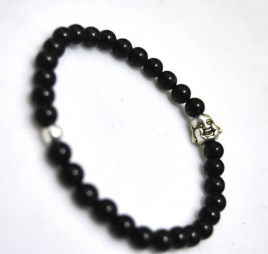 Buy 6mm Black bracelets black onyx bracelet silver beads Tibetan silver Buddha bracelet for womanme