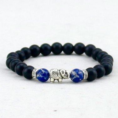 Buy 8mm Black Matte Agate Stone Beads Bracelets,Rhinestone Bracelet,Elephant Bracelet for Women Luc