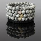 Buy 8mm Natural Gray Map Stone Bracelet with Silver Gold Plated Micro Pave CZ Cubic Zirconia Disco