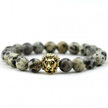 Buy 8mm Natural Stone Beads Bracelet  for Women, Silver and Gold Lion Head Bracelets Like Egg Stone