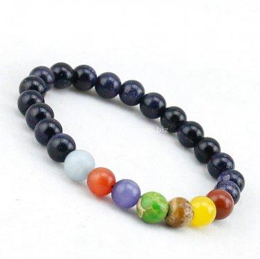 Buy 8mm Natural Stone Blue Sand Bracelet Women Bracelet Jewelry Natural Stone Beautiful 7 Chakra Be
