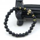 Buy Choose Size Mens Beaded Golden Skull Head Bracelet ,Matte Agate Onyx Stone Charm Hand Women Bra
