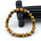 Buy Fashion Original Natural Stone Man Bracelets Tigers eye 8mm Beads Silver Skull Bracelets Bangle