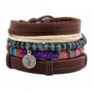 Buy Leather Skin Color Rope Wood Bead and Metal Charms Plurality Beaded Bracelet Braided Combinatio